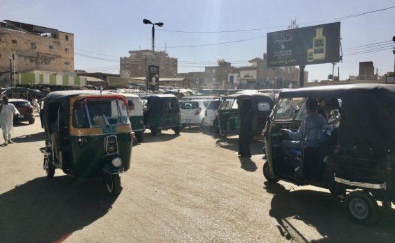 Motor rickshaws in the outskirts of Khartoum Sudan